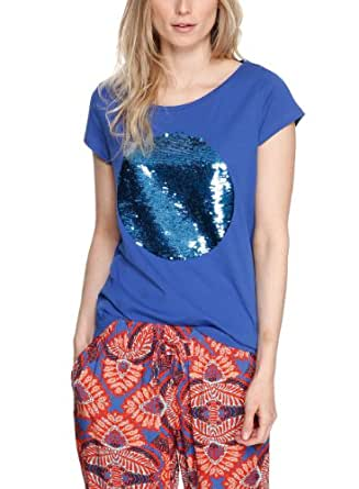 s.Oliver Damen T-Shirt 14.404.32.2702, Einfarbig, Gr. 44, Blau (amparo blue placed print 55D0)