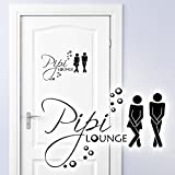 Grandora W755 WC Türaufkleber Pipi Lounge + Mann Frau Piktogramm Bad Wandtattoo schwarz 27 x 18 cm