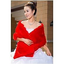 Manton de boda de piel sintetica - SODIAL(R) Manton estola capa envoltura de