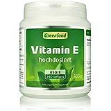 Greenfood Vitamin E, 400 iE, hochdosiert, 240 Kapseln - ohne Gentechnik, ohne künstliche Zusatzstoffe