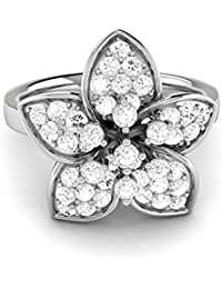 LOLLS Solid 10K Gold Ring 0.49 CT Round Cut Natural Diamond SI HI Flower Diamond Ring [LOLLS_AMPS317R_10K]