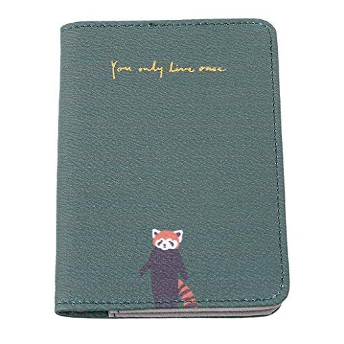 Chinget Passport Cover Tasche Reise Schutzhülle Inhaber Kartenetui (Grünes Panda-Muster) - Panda Passport Cover