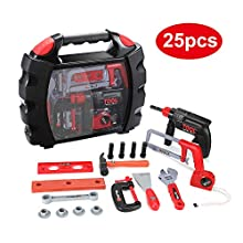 Ucradle Toy Tool Kit - 25pcs Tools Set Portable Role Play Working Tools for Toddlers, Ideal Educational Kids Tool Set Birthday Gift for Boys & Girls Aged 3, 4, 5, 6