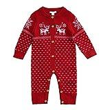 Funnycokid Barboteuse Bébé Pull Grenouillères Pyjamas Manches Longues Combinaisons en Coton Enfant Outfits Noël Costume