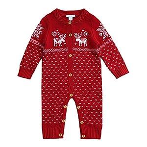 Funnycokid Unisex Tutine neonato Maglione bambino Maglioni Cardigan bimba Tutina pagliaccetto Giacca natale maglione