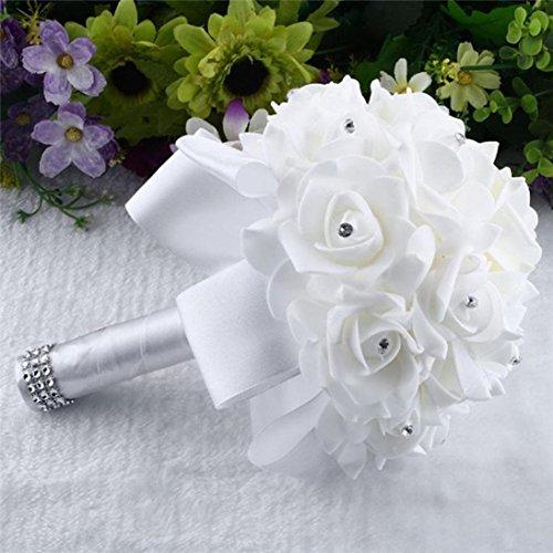 Künstliche Blumen,Internet Kristallrosen Unechte Blumen Künstliche Deko Blumen Seidenrosen Plastik Köpfe Braut Hochzeitsblumenstrauß für Haus Garten Party Blumenschmuck Kunstseide Gefälschte Blumen (Weiß)