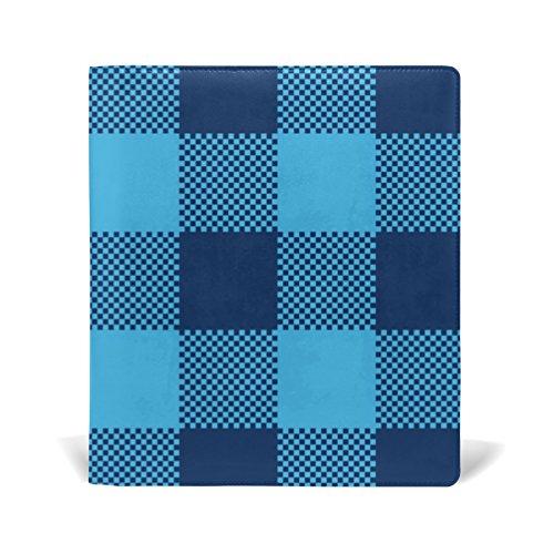mydaily Navy und Blau Plaid GINGHAM Karierter wiederverwendbar Leder Buch 22,9x 27,9cm für mittlere bis Größe Jumbo Hardcover Schulbücher lehrbüchern. (Gingham Plaid Blau)