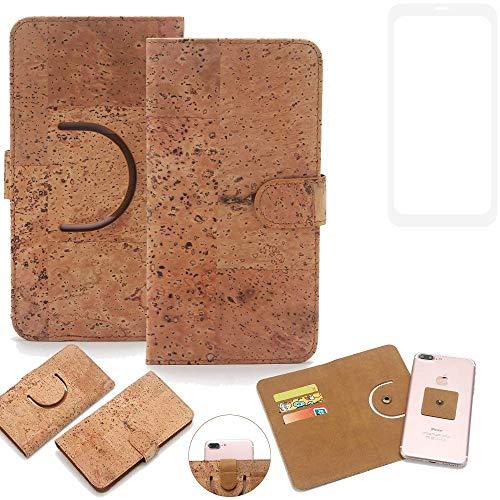 K-S-Trade Schutz Hülle für Vestel V3 5580 Dual-SIM Handyhülle Kork Handy Tasche Korkhülle Schutzhülle Handytasche Wallet Case Walletcase Flip Cover Smartphone