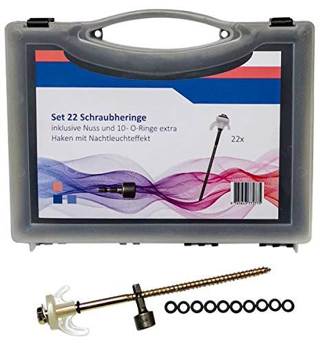 ABCamping Set 22 Stück Schraubheringe Stahl 20cm im Koffer/Nachtleuchteffekt/Extra Nuss + 10 Stück O-Ringe/Zelte auf mittelharten bis harten Boden