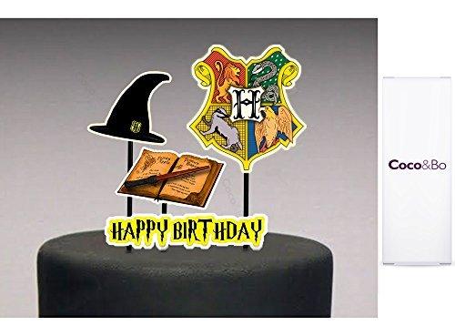 1x Coco & Bo–Mágico Escuela Hogwarts de magos–Adorno para tarta cumpleaños, diseño de Harry Potter Hogwarts Casas Fiesta Decoraciones de mesa y accesorios de tarta