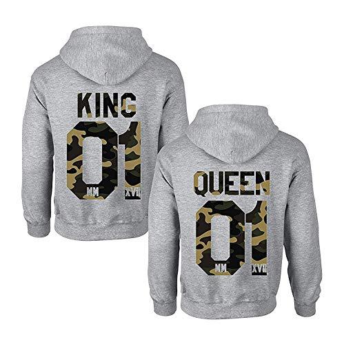 Pärchen Hoodie Set King Queen Pullover für Zwei Kapuzenpullover für Paare Paar Valentinstag Partner Geschenke Partnerlook Liebespaar Couple Mr Mrs Kapuzenpulli (Camouflage, King-XXXL + Queen-XL) -