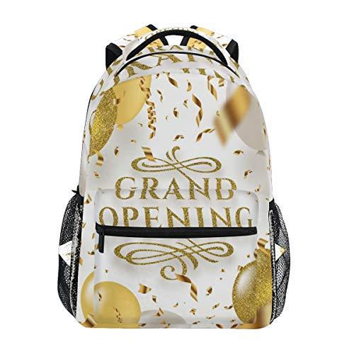 SIONOLY Rucksack,Grand Opening Glitter Gold Logo blüht,Neu Lässige Daypack School Bookbag Verstellbare Umhängetaschen Reiserucksack -