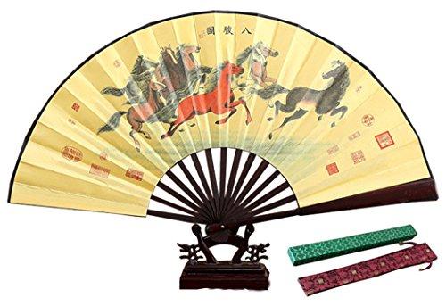 HorBous Chinesischer klassischer Mannes handgemachter Silk Handfaltender Ventilator Bambushandventilator für Männer (13', 10 Wahlen) (7#)
