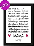 PICSonPAPER Personalisiertes Muttertagsgeschenk Poster DIN A4 Mama, liebevoll, Sterneköchin, stark, gerahmt mit schwarzem Bilderrahmen, Muttertag, Poster mit Rahmen, Personalisierbare Poster (Mama)