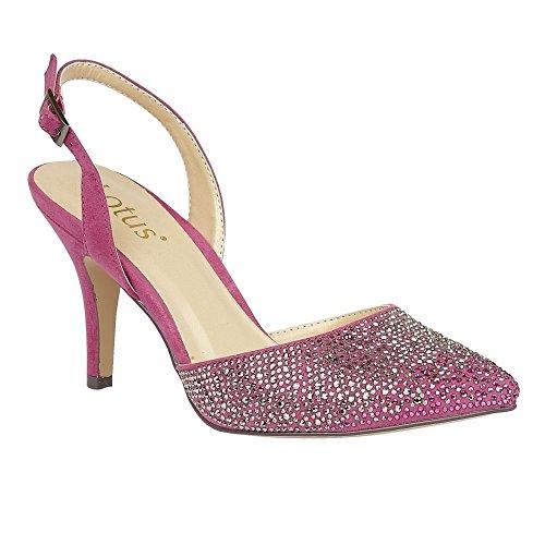 Lotus Spinley Fuchsia Microfibre & Diamante Sling-Back Court Shoes 5