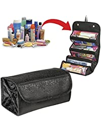 Flipco Hanging Cosmetic Bag Luxury Roll-N-Go Travel Bag Roll Up Makeup Case Pouch Toiletry Bathroom Organizer