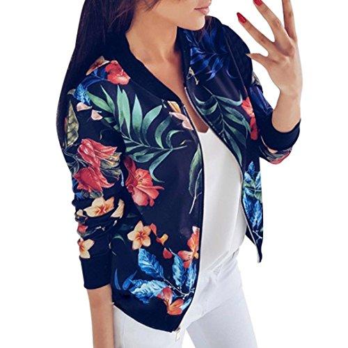 VEMOW Herbst Winter Frauen Damen Druck Langarmshirts Reißverschluss Jacke Casual Täglich Outdoors Outwear Lose Tops(Blau, EU-38/CN-S)