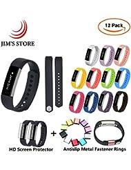 Fitbit Reemplazo de banda, JIM'S STORE Paquete de 12 Pulsera de silicona Con anillos antiadherentes de metal Para Fitbit Alta y Alta HR (S)