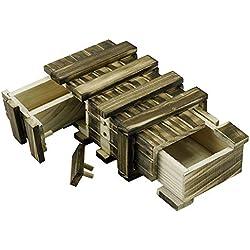 Locisne Caja de regalo de madera mágica 2 compartimentos de almacenamiento extra seguros Caja de recuerdo cajón secreto Caja rompecabezas memoria Regalo aniversario boda Inteligencia Brain Teaser