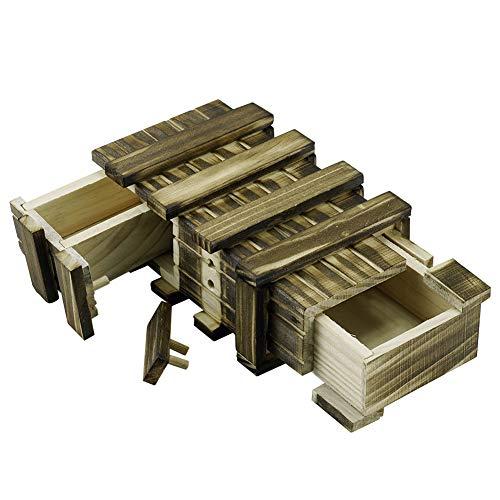 Locisne Personalisierte magische hölzerne Geschenkbox mit 2 zusätzlichen sicheren Speicherfächer Geheimfach Keepsake Box Memory Puzzle Box Hochzeitstag Geschenk Intelligenz Gehirn Teaser