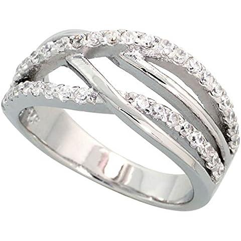 Revoni-ponte-Anello in argento Sterling, placcato al rodio, con zirconia cubica, taglio brillante, spessore 3 mm, larghezza 20,32 (8 cm