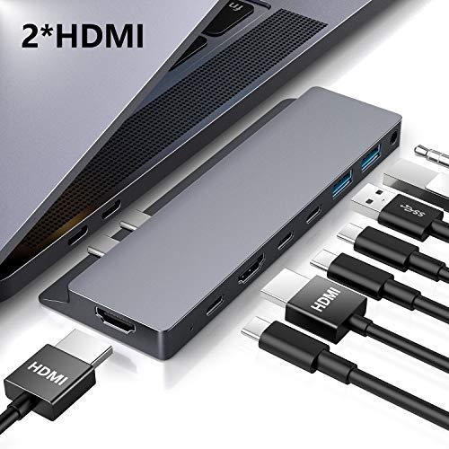 """HOTUCG USB C Hub, USB-C Hub für MacBook Pro 2018/2017/2016 13\""""&15\"""", MacBook Air 2018 13\"""", 8 in 1 Aluminium Dual Type C Adapter + 2 HDMI + 2 Type C Ports + 3 USB 3.0 + 1 Audio Port, Spacegrey"""