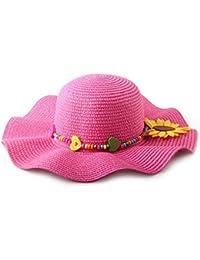Kids Falbala ala sol flor Cap Playa Sol paja sombreros de verano para niñas