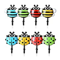 SO-buts Ladybird Shaped Self Adhesive Hooks with Suction up,Wall Mounted Hanger Storage Rack Holder for Towel Keys Coat Cloth