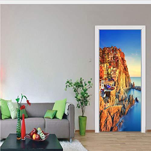 Miss Zhang's shop Italien Landschaft Berühmte Landschaft Dekoration Kinderzimmer Türen Aufkleber 3D Selbstklebende Tür Dekoration Kinderzimmer 95X215 cm