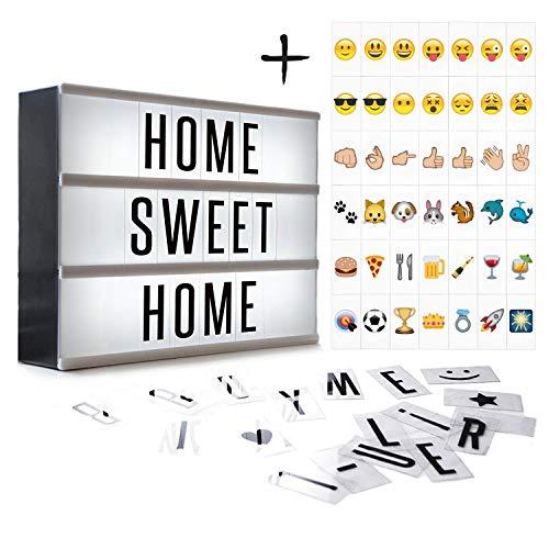Kino Lichtbox / Light Box - Warmes Licht im Format A4, mit schwarzen Buchstaben, Zahlen und Symbolen - Personalisieren sie ihre eigene Nachricht – betreibbar mit Batterie oder USB-Power - MEGON