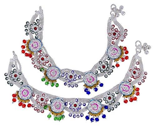 Banithani Indischen Braut Designer Payal Silvertone Verschraubbare Fußkettchen-Set Hochzeit Schmuck - Designer Braut Kleider