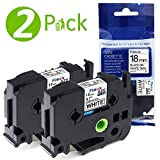 Kompatibel Schriftband/Beschriftungsband TZe241 TZe-241 TZ241 für Brother P-touch PT-P900, 9600, PT-9700, PT-P700, PT-P750W, schwarz auf weiß, 18 mm x 8 m/2er-Packung