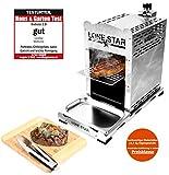 LoneStar StarBurner2 Edelstahl Steak Gasgrill Hochtemperatur Grill, Beef maker Oberhitzegrill bis 850 °C, Outdoor Gas Grill, Steaks Grillen wie ein Profi, Steakgriller mit regulierbarem Gasbrenner