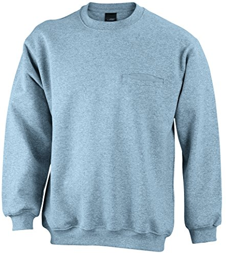 James & Nicholson Herren Round Sweat Pocket Sweatshirt Grau (Grey-Heather)