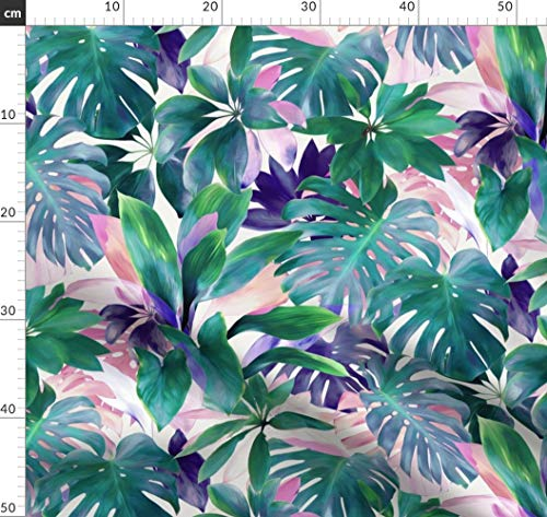 Dschungel, Tropisch, Blätter, Lila, Zeitgenössisch, Botanisch Stoffe - Individuell Bedruckt von Spoonflower - Design von Micklyn Gedruckt auf Bio Musselin -