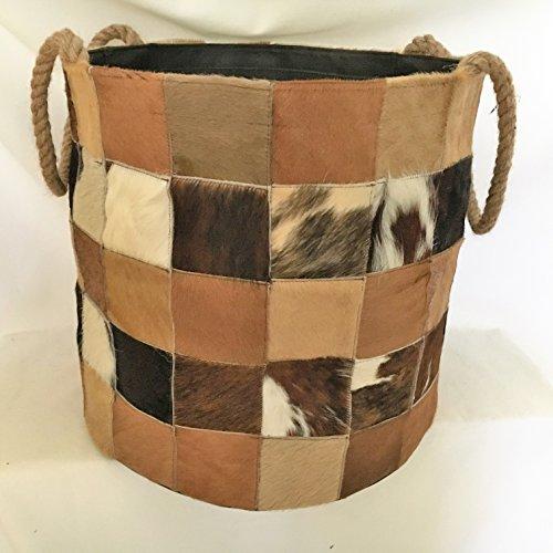 *Kaminholzkorb aus echtes Leder – 100% Italienische Handwerkskunst –Holzkorb aus Leder 40x40x38cm*