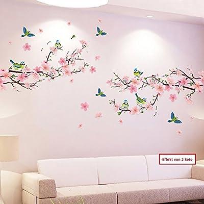 WandSticker4U- XL Wandtattoo Blumen Pfirsichblüte mit Vögeln | Wandbild: 170x85 cm | Wandsticker Kirschblüte Zweig rosa Sakura Pflanzen Baum Ast Aufkleber | Wand Deko für Wohn-Schlafzimmer Küche Flur von WandSticker4U auf TapetenShop