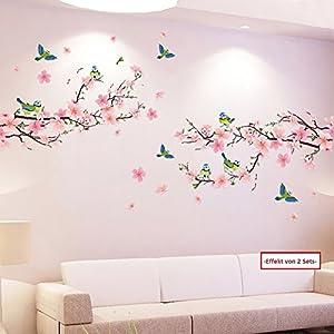 WandSticker4U®- XL Wandtattoo Blumen Pfirsichblüte mit Vögeln I Wandbild: 170×85 cm I Wandsticker Kirschblüte Zweig rosa…