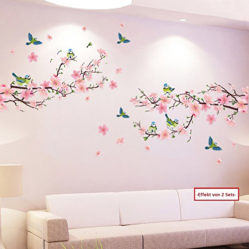 WandSticker4U- XL Wandtattoo Blumen Pfirsichblüte mit Vögeln | Wandbild: 170x85 cm | Wandsticker Kirschblüte Zweig...