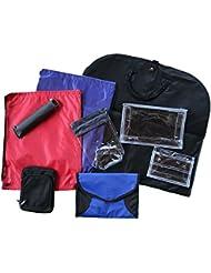PATOUTATIS - kit de voyage - lot de 9 articles : sac à dos toile - trousse toilette - parapluie - housse vêtements