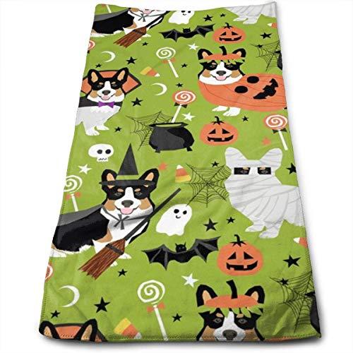 Dog Ghost Kostüm - Wodann Dreifarbige Corgi Halloween-Kostüme Mummy Vampire Ghost Just Dog hellgrün Handtücher Geschirrtuch Floral Leinen Handtuch 11,8