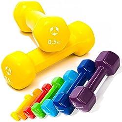 Pesas de vinilo »Hexagon« / Mancuernas disponibles en diferentes pesos y colores / 0,5 kg, amarillo