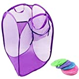 H-Store 2Pc Nylon Mesh Foldable Laundry Washing Clothes Basket Bag(40*40*70)