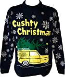 Only Fools and Horses Official Knitted Christmas Jumper (Cushty) dav (L, Blue)