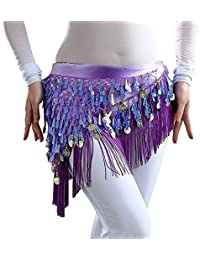 YiZYiF Femme Fille Ceinture de Danse Orientale V-Glands Belly Tribal Wraps Jupe  Franges d5ca5e20d26