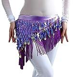 YiZYiF Femme Fille Ceinture de Danse Orientale V-Glands Belly Tribal Wraps Jupe Franges