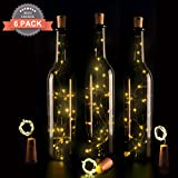 6 PCS LED di sughero bottiglia luci, Tappo del vino bottiglia fata luci String Luci 30in (75cm) Silver filo Con 15 lampadine a LED per la decorazione della bottiglia fai da te, barbecue, riunirsi, festa, matrimonio, vacanza, Interno, Esterno (Bianco caldo) immagine