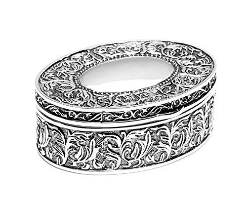 e Schmuckkasten Schmuckkästchen Schmuck Box Dose Silber Samt (Schatulle mit Gravur bis 25 Zeichen) (Hochzeit Beratung-box)