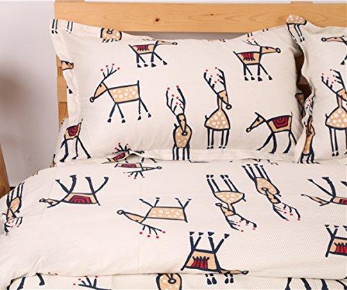 Extra Jungen Lange Twin-bettwäsche Für (memorecool Haustierhaus Kissenbezüge 1Stück Cartoon Elk auf gestreiftem Hintergrund 100% Baumwolle 48,3x 73,7cm, baumwolle, pillowcase, 19x29inch)