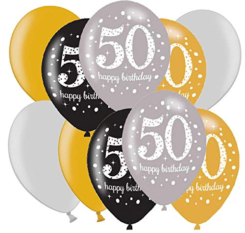ftballons Deko zum Geburtstag Party Dekoration Gold Silber (50. Geburtstag) ()